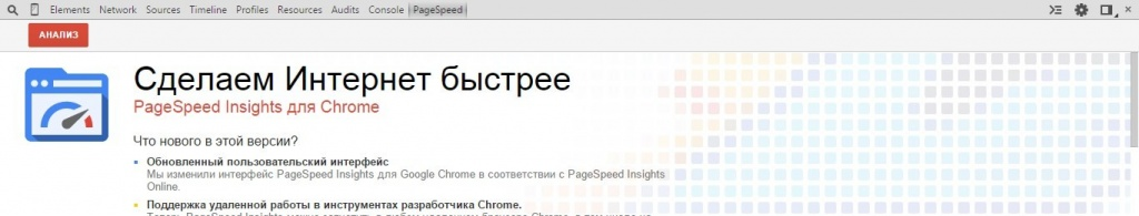 Вкладка PageSpeed Insights